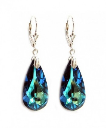 Swarovski Elements Crystal Sterling Silver Leverback Dangle Earrings - Bermuda Blue - CO118YVNJJD