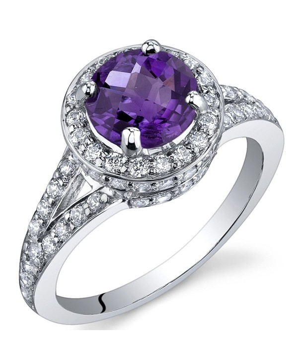 Majestic Sensation 1.25 Carats Amethyst Ring in Sterling Silver Rhodium Nickel Finish Sizes 5 to 9 - CD115WB04FF