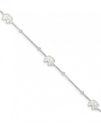 Sterling Silver 9in Polished Elephant with 2in ext. Anklet - C8119CBD5TN