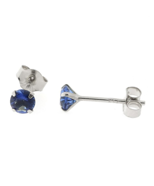 14k Yellow or White Gold Round Simulated Blue Sapphire Earrings - C212N4WJTAX