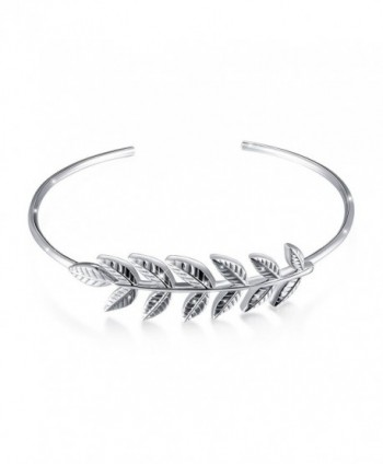 ATHENAA S925 Sterling Silver Leaf Adjustable Cuff Bangle Bracelet - C21899N6KYQ