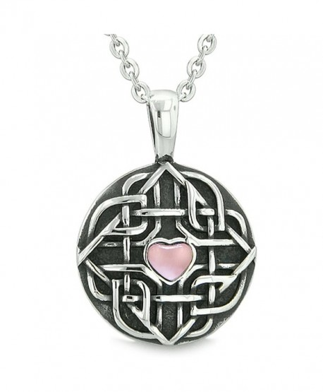 Amulet Celtic Shield Knot Magic Heart Protection Powers Pink Simulated Cats Eye Pendant 18 Inch Necklace - CG11U9ZY4XR