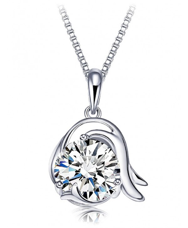 Flashing God 925 Sterling Silver Horoscope Constellation Zodiac Necklace Pendant with Cubic Zirconia - CI182S2YLC0