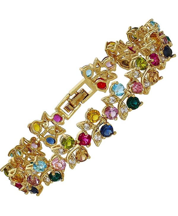 Rizilia Jewelry Gold Plated Crystal Round Cut Multi-Color Tennis Statement Fashion Bracelet - C911GVUN80T