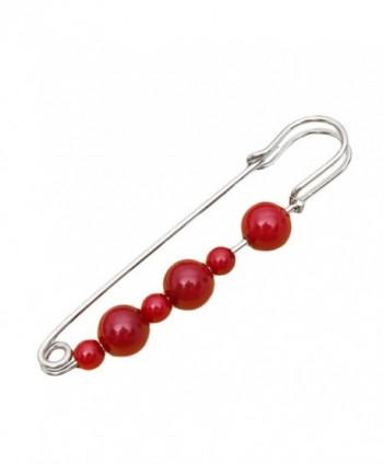 Fashion Women Jewelry Multicolored Brooch Safety Pin - Garnet Silver - CP188NH2D49