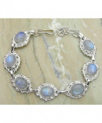 Genuine Moonstone 925 Sterling Silver Overlay Handmade Fashion Bracelet Jewelry - C31253YGQ2P
