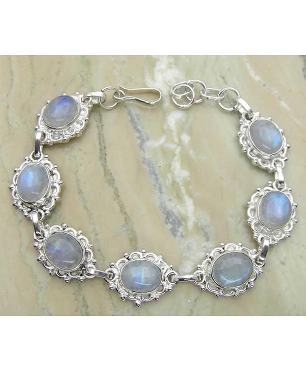 Genuine Moonstone 925 Sterling Silver Overlay Handmade Fashion Bracelet Jewelry - C31253YGQ2P