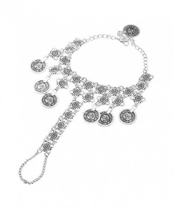 Idealway Vintage Silver Coin Bracelet Adjustable Handmade Floral Boho Gypsy Ethnic Bracelet Ring chain - C3126NOKGWZ