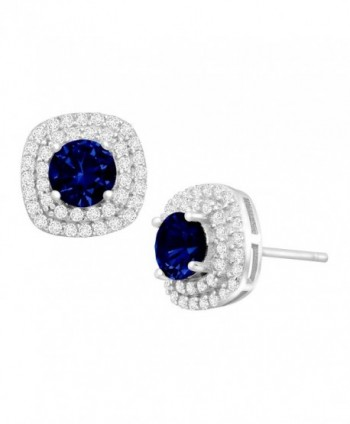 1 3/4 ct Created Sapphire and Cubic Zirconia Halo Stud Earrings in Sterling Silver - C212H532XMJ