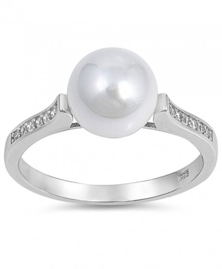 White CZ Simulated Pearl Beautiful Ring New 925 Sterling Silver Band Sizes 5-10 - CP12NRRAET9