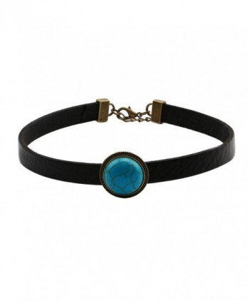Yunhan Natural Turquoise and Flat Black Leather Choker Necklace & Bracelet Set for Women Adjustable - CL12KDMUT89