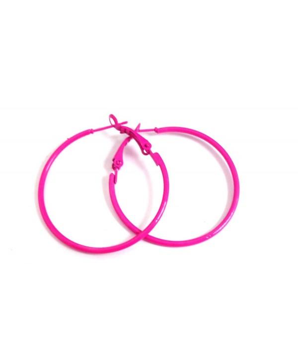 Hot Pink Hoop Earrings Simple Thin Hoop Earrings 1.5 Inch Hoop Earrings - CU12FZAW0RL