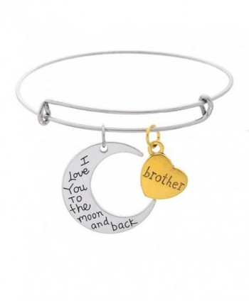 "Moon And Heart Pendants ""Mom I Love You To The Moon And Back "" Expandable Wire Bangle Bracelet - Brother - C4182ZE0O5X"