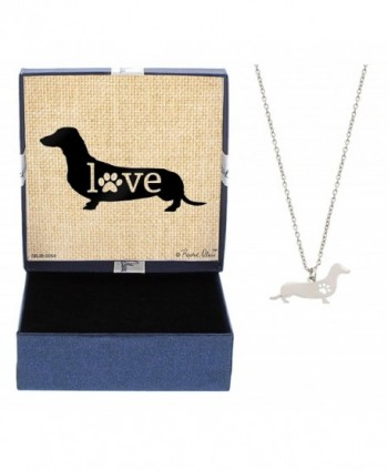 Love Dog Breed Silhouette Dog Paw Heart Silver-Tone Necklace Fashion Jewelry - CJ12N42WK1E