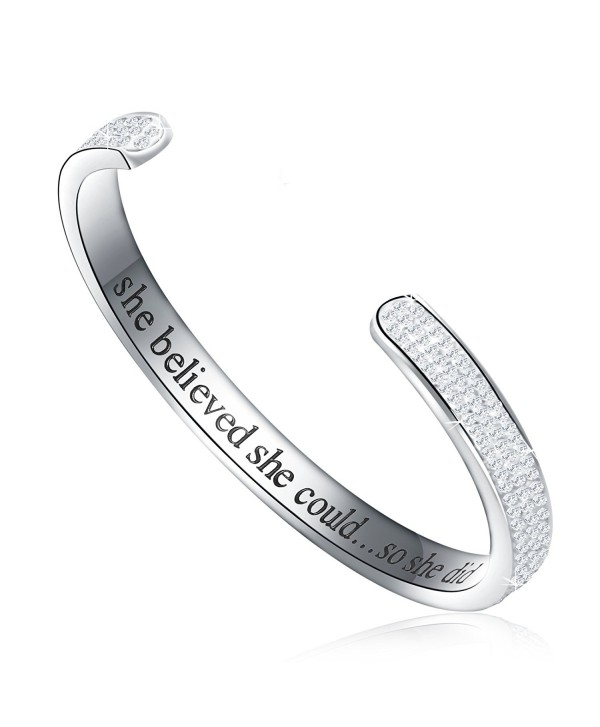 Motivation Inspirational Bracelet Austrian Engraved - Silver - CG1885LSZLO