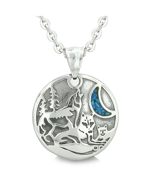 Unity Amulet Howling Wolf Family Wild Moon Simulated Turquoise Chips Pendant 22 Inch Necklace - CC116IC0DRV