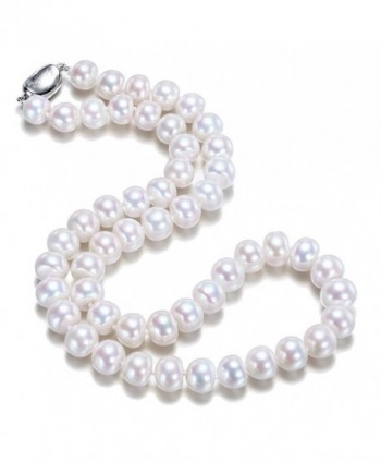 "JYX Classic Near-round White Cultured Freshwater Pearl Necklace 16-64"" - C81822K3DOK"