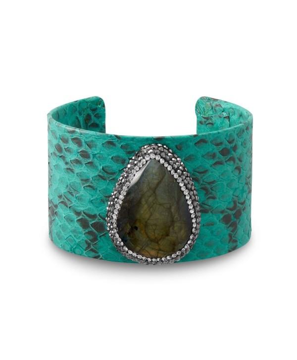 Labradorite- Snakeskin and Crystal Fashion Cuff Bracelet - CO185X08A4Z