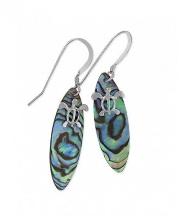 Sterling Silver Abalone Shell Surfboard Turtle Dangle Earrings - CL117WLT9DL