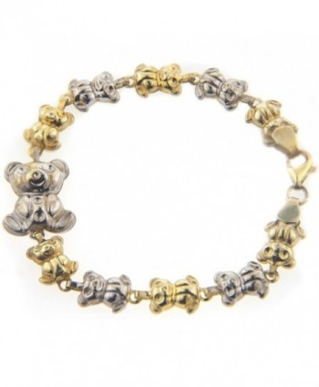 MCS Jewelry Sterling Silver Two Tone Gold Plated Teddy Bear Link Bracelet - CP1107IKSO5