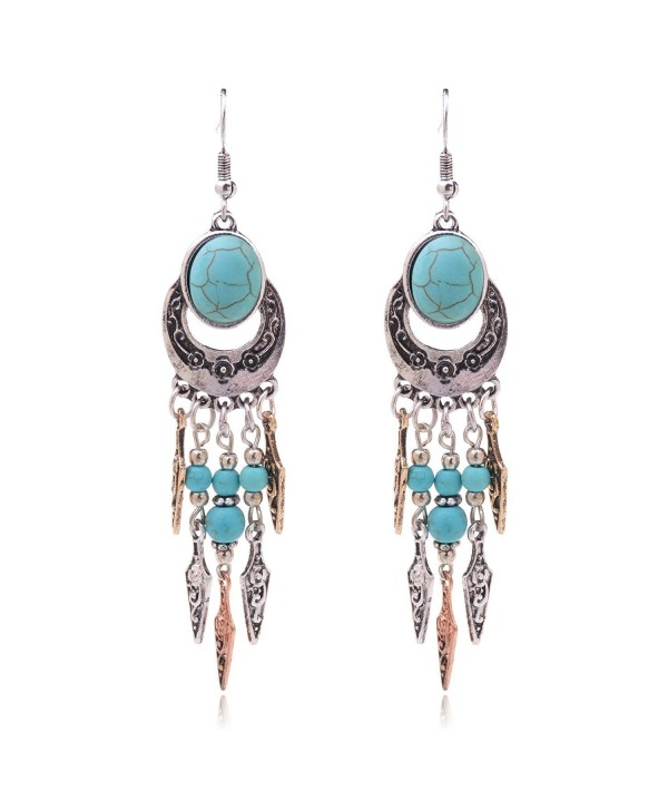 Ginasy Sterling Silver Plated Long Imitation Turquoise Oval Stud Drop Earrings - C112DM5KSIZ