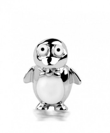 Jovana Sterling Silver Penguin Bead Charm White and Black Enamel- fits Pandora Bracelet - C7116ENXFGZ