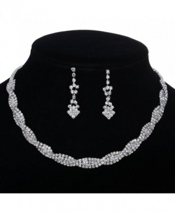 YAZILIND Shining Twisted Bridal Jewelry Sets Necklace and Earrings - CO11ORJWBMH