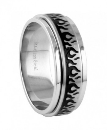 8MM Stainless Steel Flame Spinner Wedding Band (Size 8 to 15) - CC11BC4CAYX