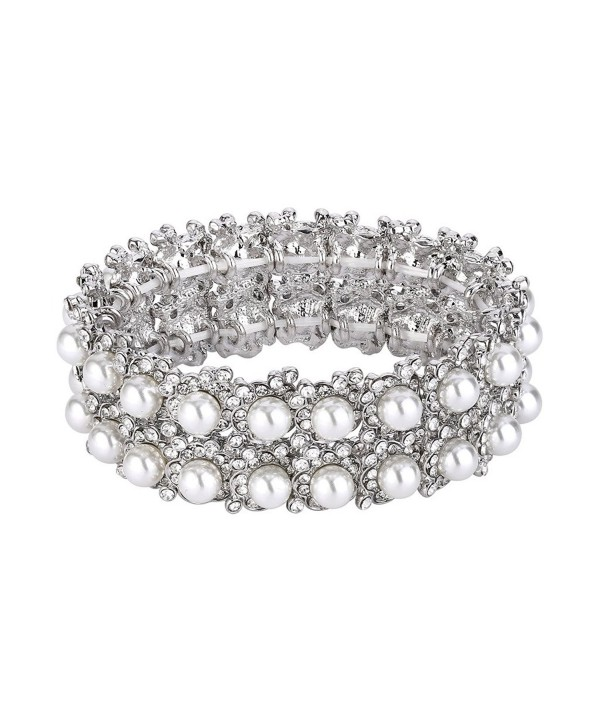 EVER FAITH Crystal Cream Simulated Pearl 1920's Style Leaf Stretch Bracelet Clear - C-White Simulated Pearl - CB185A07CGM