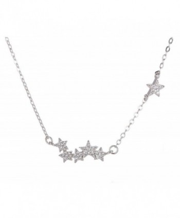 Tabwing Women's Sterling Silver 6 Stars Pendant Short Necklace - CV126VFHWNR
