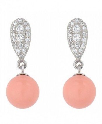 925 Sterling Silver Drop Dangle Earrings with Swаrovski Simulаted Coral Pink Pearls - Made in England - C417YQ98T46