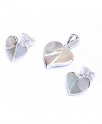 Simulated Pearl Fancy Heart .925 Sterling Silver Earring & Pendant Jewelry set - CG11LFBZR6R