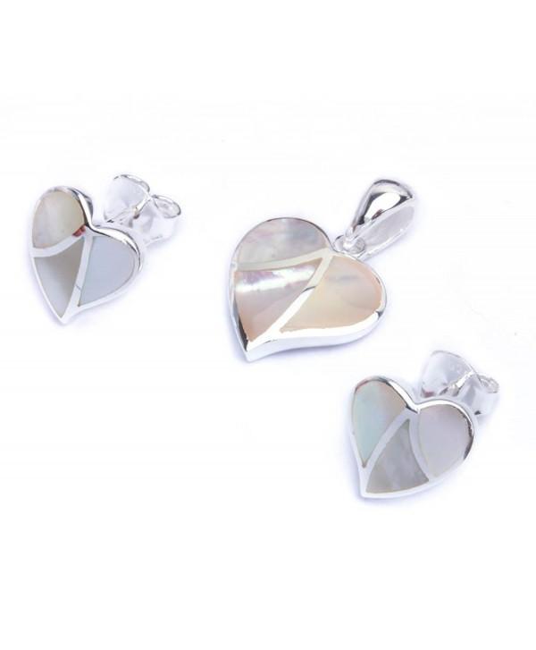 Simulated Pearl Fancy Heart .925 Sterling Silver Earring & Pendant Jewelry set - CG11LFBZR6R