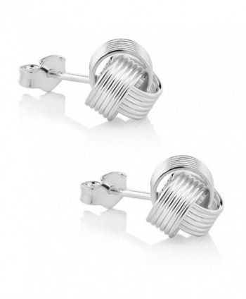 Sterling Silver Woven Twisted Earrings in Women's Stud Earrings