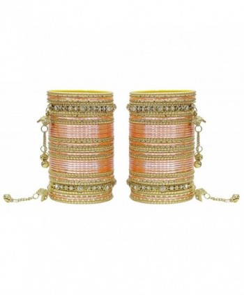 MUCHMORE Women Gorgeous Traditional Fashion Peach Bangle Indian Party wear Jewelry - CE12KB1DPAF