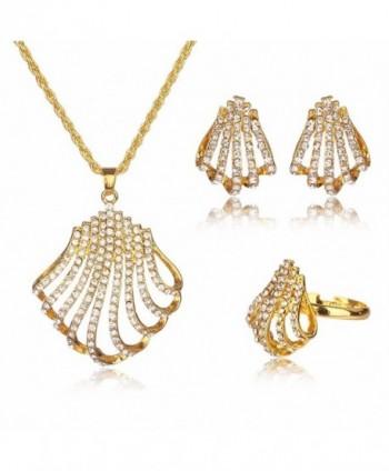 MOOCHI 18K Gold Plated Fan-Shaped Golden Chain Pedant Necklace Earrings Jewelry Set Party Dance - C9128J3JWBT