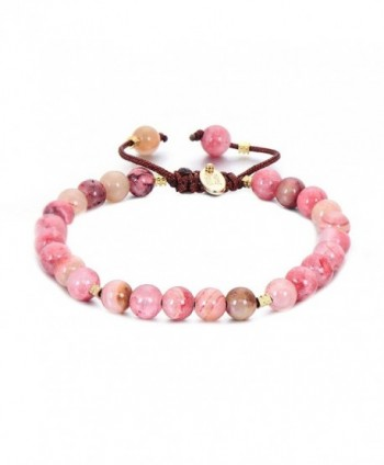Pipitree Adjustable Rope Yellow Agates Bracelet Natural Stone Beads String Bracelet For Women - Pink - CQ187WNZ5KK