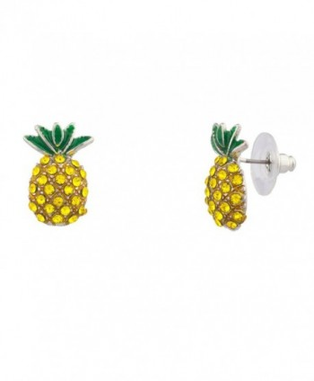 Lux Accessories Fruit Cocktail Pave Pineapple Stud Earrings - CL11WUVWQOH