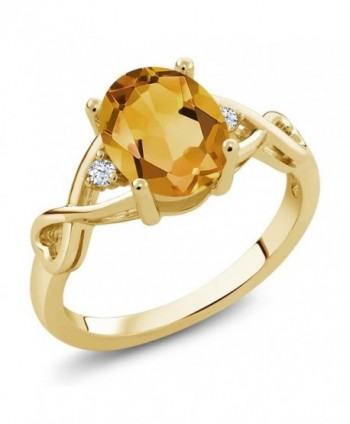 1.55 Ct Oval Yellow Citrine and White Topaz 18K Yellow Gold Plated Silver Ring (Available in size 5- 6- 7- 8- 9) - CC12BLDPGC3