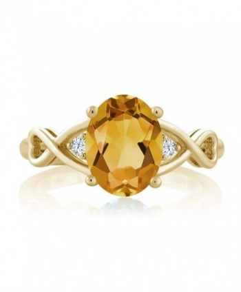 Yellow Citrine White Plated Silver