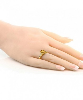 Yellow Citrine White Plated Silver in Women's Wedding & Engagement Rings