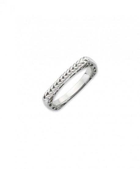 Stackable Sterling Silver Square Wheat Band - CB1187ZRMG7
