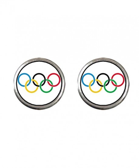 GiftJewelryShop Silver Plated Olympic five rings Photo Stud Earrings 10mm Diameter - CE11Q1DDWH5