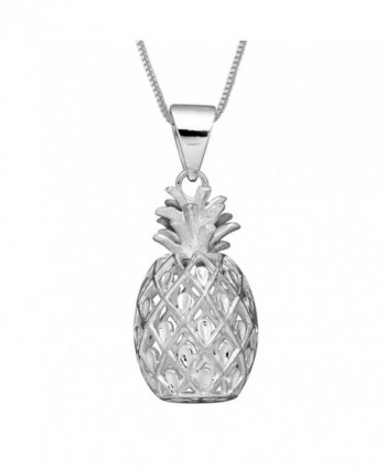 "Sterling Silver Pineapple Pendant with 18"" Box Chain - CU12NYWLT5P"