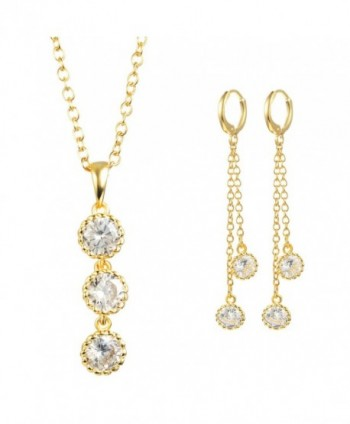 Woman's Shiny Clear Zircon Crystal Pendant Necklace Dangle-Earring Ring Jewelry Sets - C018507AIIL