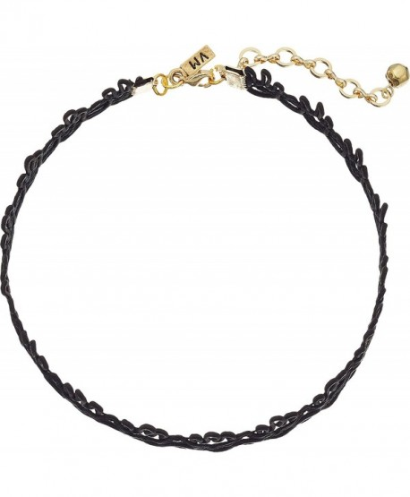 Vanessa Mooney Womens Cord Lace Patterned Choker Necklace - Black - CN12GZPJEJD