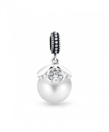 Bling Jewelry 925 Silver Simulated Pearl Heart Dangle Bead Charm - CM11NGV2YVZ