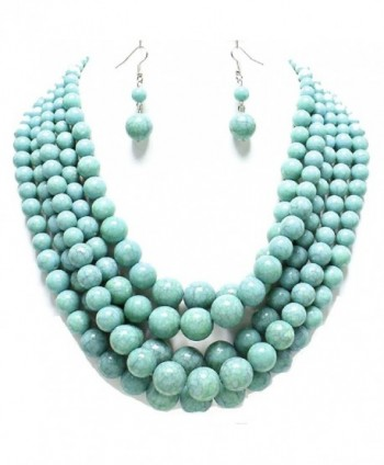 Statement Layered Strands Turquoise Stone-simulated Pearl Beads Necklace Earrings Set Gift Bijoux - C712BT6UO0B