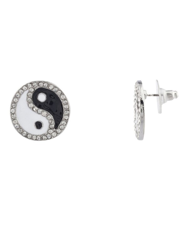 Lux Accessories Pave Crystal Yin Yang Peace Black White Stud Earrings Kids Girl Women - CZ11YL7YRBN