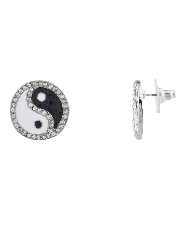 Lux Accessories Pave Crystal Yin Yang Peace Black White Stud Earrings Kids Girl Women - CZ11YL7YRBN